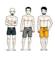 handsome men standing wearing beach shorts people vector image vector image