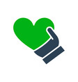 human holding heart colored icon share a donate vector image
