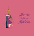 kiss me under the mistletoe vector image vector image
