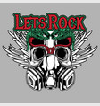 lets rock skull and snake with wing hand vector image