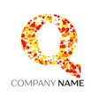 letter q logo with orange yellow red particles vector image vector image