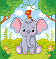 little cute elephant sits in a clearing in the vector image vector image