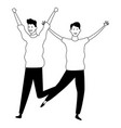 male friends having fun in black and white vector image vector image