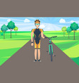 man on road holding bicycle vector image vector image