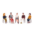men and women sitting on chairs and talking to vector image vector image