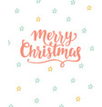 merry christmas greeting card brush lettering vector image