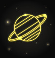 neon planet saturn icon in thin line style vector image