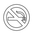 no smoke area line icon outline sign vector image vector image