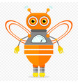 orange friendly cartoon bee robot character vector image vector image