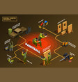 paintball isometric flowchart infographics vector image vector image