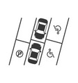 parking lot with disabled sign silhouette design vector image
