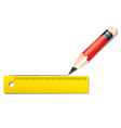 Red pencil writing with yellow ruler vector image