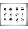 Set of black new year icons vector image