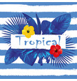 slogan tropical hibiscus blue white stripe vector image vector image