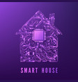 smart home or iot concept purple circuit house vector image vector image