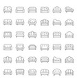 sofa and chair thin line icon set vector image