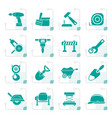stylized building and construction icons vector image vector image