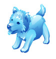 stylized dog cub figure made of ice vector image vector image