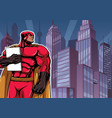 superhero holding book in city vector image vector image