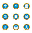 supplication icons set flat style vector image vector image