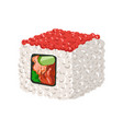sushi roll with red caviar colorful cartoon vector image