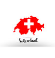 switzerland country flag inside map contour vector image