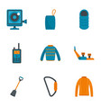 travel hiking icon set flat style vector image vector image