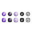 twitch modern 3d and flat icons set vector image