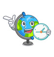 with clock globe character cartoon style vector image