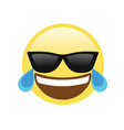 yellow laughing face with black sunglasses flat vector image vector image