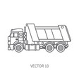 line flat icon construction machinery truck vector image