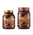 3d realistic chocolate spread in jar vector image