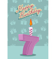 7 year Happy Birthday Card vector image vector image