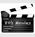 80s movies clapperboard vector image vector image