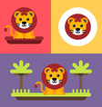 A set of three bright of cute lion cub Colored vector image
