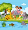 animals and people near pond vector image vector image