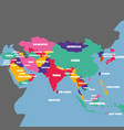 asia map with the name of the countries vector image vector image