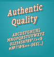 authentic quality vintage 3d alphabet set vector image