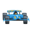 blue fast motor racing car front view cartoon vector image