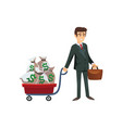 businessman character with cart of money vector image