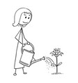 cartoon of gardener woman watering blooming plant vector image