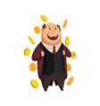 cartoon rich people image a funny fat vector image vector image