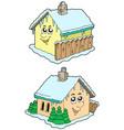 cartoon winter houses vector image vector image
