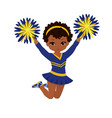 cheerleader in blue and yellow uniform with pom vector image vector image
