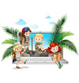 Children in safari outfit on computer screen vector image vector image