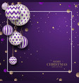 christmas violet baubles with geometric pattern vector image vector image