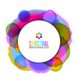 circular badge on spectral colorful watercolor vector image