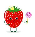 cute strawberry cartoon character with crown holds vector image vector image