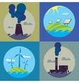 Eco energy and air pollution banners set vector image vector image