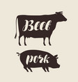 farm animals butcher shop fresh meat vector image